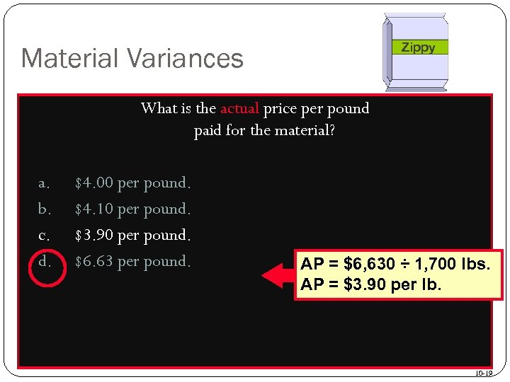 Zippy Material Variances What is the actual price per pound paid for the material?
