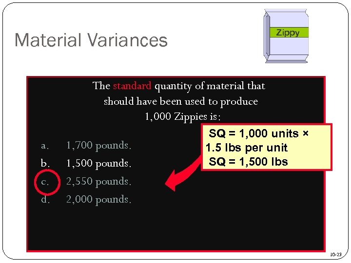 Zippy Material Variances The standard quantity of material that should have been used to