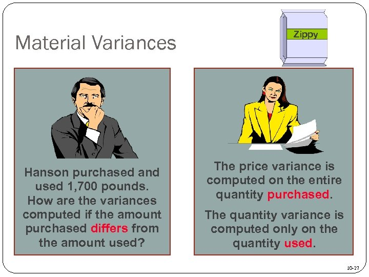 Material Variances Hanson purchased and used 1, 700 pounds. How are the variances computed
