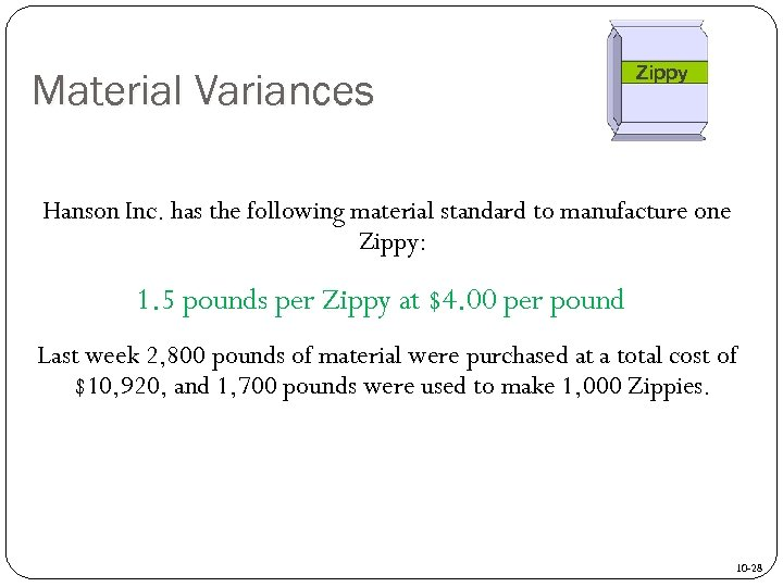 Material Variances Zippy Hanson Inc. has the following material standard to manufacture one Zippy:
