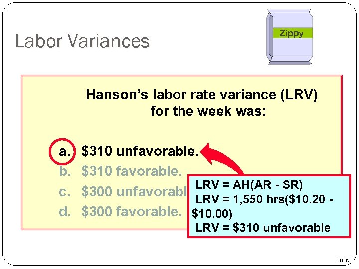 Labor Variances Zippy Hanson's labor rate variance (LRV) for the week was: a. b.
