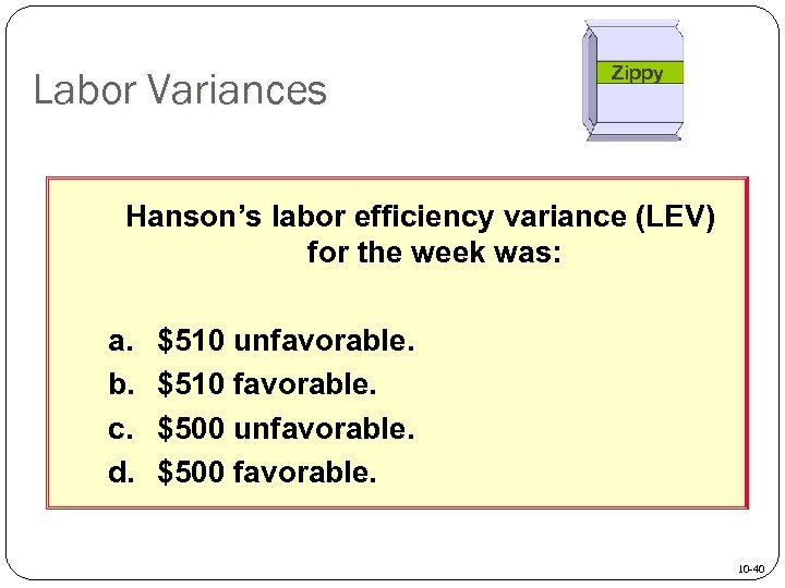Labor Variances Zippy Hanson's labor efficiency variance (LEV) for the week was: a. b.