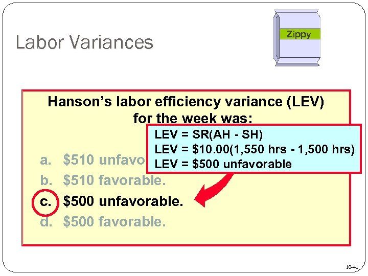 Labor Variances Zippy Hanson's labor efficiency variance (LEV) for the week was: LEV =