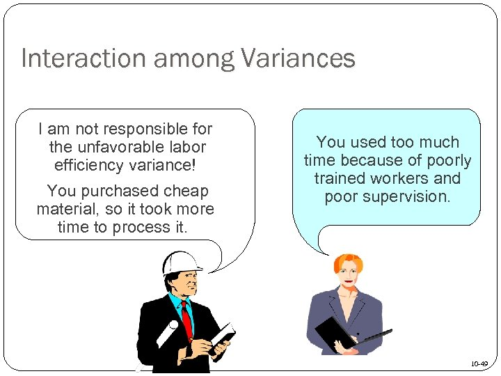 Interaction among Variances I am not responsible for the unfavorable labor efficiency variance! You