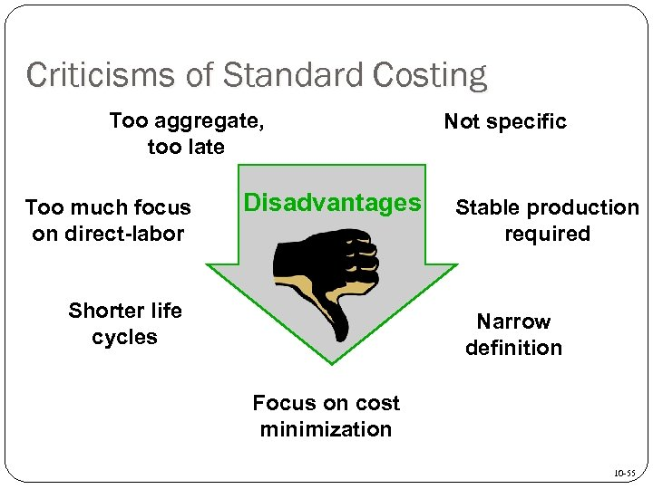 Criticisms of Standard Costing Too aggregate, too late Too much focus on direct-labor Disadvantages