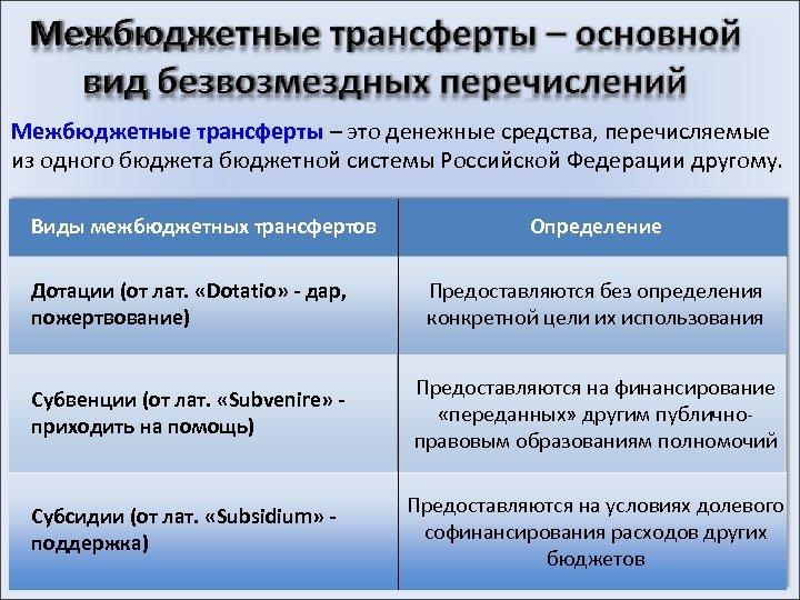 Межбюджетные трансферты – это денежные средства, перечисляемые из одного бюджета бюджетной системы Российской Федерации