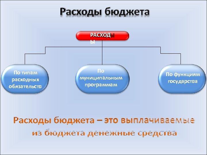 РАСХОД Ы По типам расходных обязательств По муниципальным программам По функциям государства