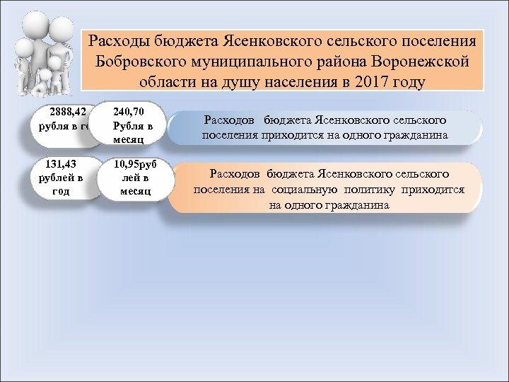 Расходы бюджета Ясенковского сельского поселения Бобровского муниципального района Воронежской области на душу населения в