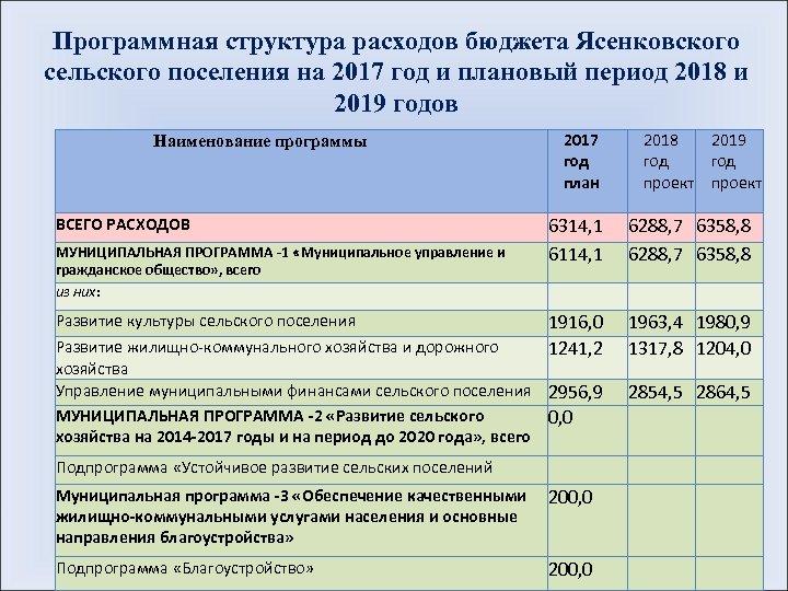 Программная структура расходов бюджета Ясенковского сельского поселения на 2017 год и плановый период 2018