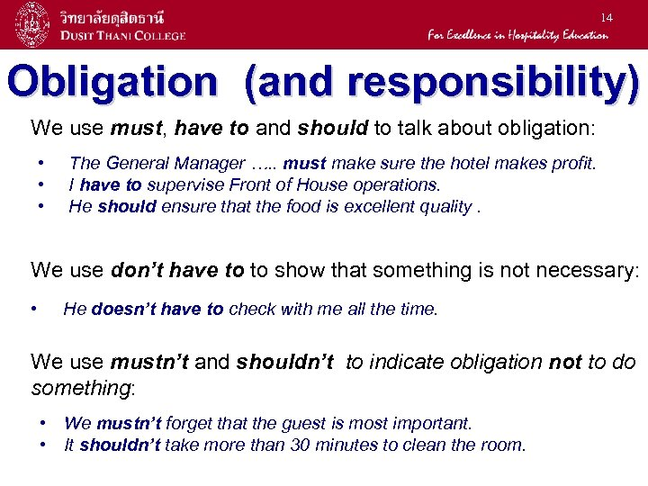 14 Obligation (and responsibility) We use must, have to and should to talk about