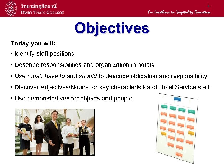 4 Objectives Today you will: • Identify staff positions • Describe responsibilities and organization