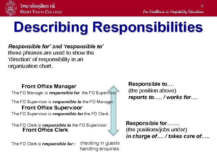 6 Describing Responsibilities Responsible for' and 'responsible to' these phrases are used to show