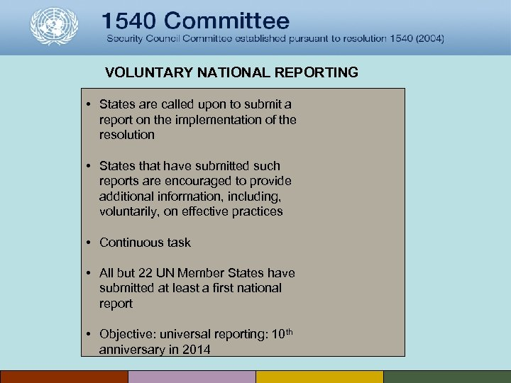 VOLUNTARY NATIONAL REPORTING • States are called upon to submit a report on the