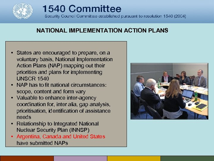 NATIONAL IMPLEMENTATION ACTION PLANS • States are encouraged to prepare, on a voluntary basis,