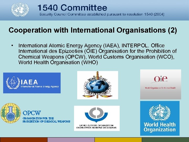 Cooperation with International Organisations (2) • International Atomic Energy Agency (IAEA), INTERPOL. Office International