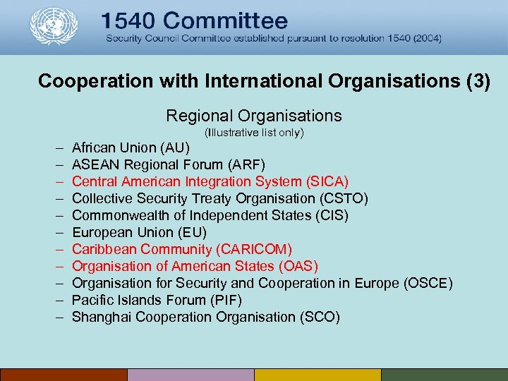 Cooperation with International Organisations (3) Regional Organisations (Illustrative list only) – – – African