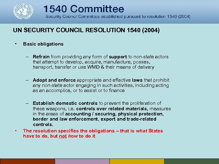 UN SECURITY COUNCIL RESOLUTION 1540 (2004) • Basic obligations – Refrain from providing any
