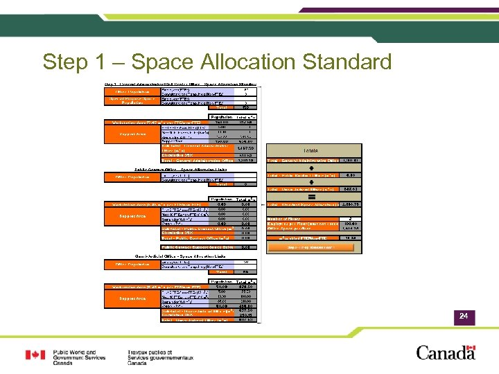 Step 1 – Space Allocation Standard 24