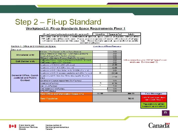 Step 2 – Fit-up Standard 25