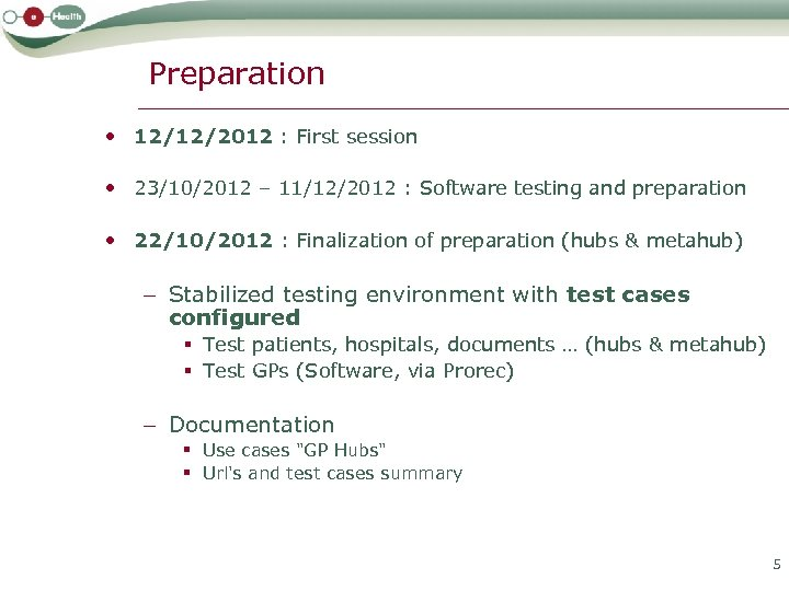 Preparation • 12/12/2012 : First session • 23/10/2012 – 11/12/2012 : Software testing and