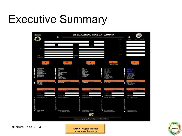 Executive Summary © Novel Idea 2004 DMAIC Project Tracker: Executive Summary