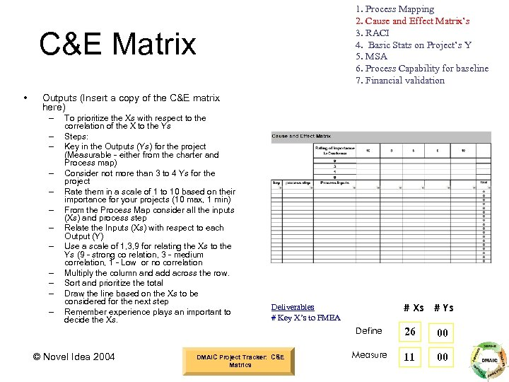 1. Process Mapping 2. Cause and Effect Matrix's 3. RACI 4. Basic Stats on