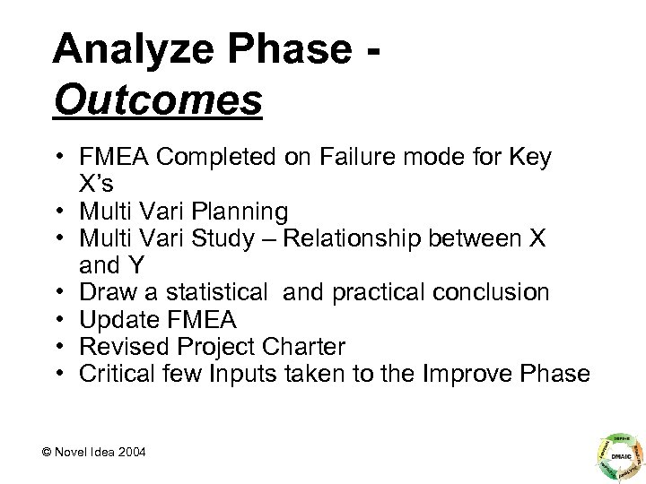 Analyze Phase Outcomes • FMEA Completed on Failure mode for Key X's • Multi