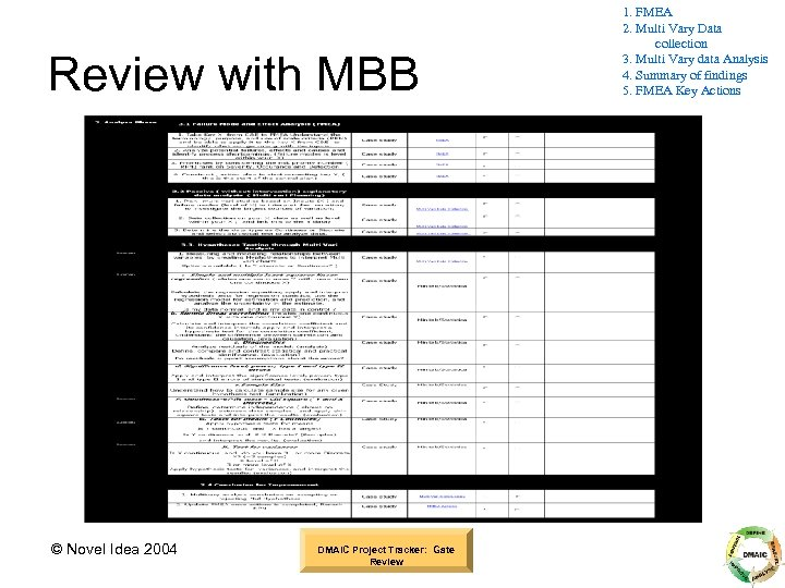 Review with MBB © Novel Idea 2004 DMAIC Project Tracker: Gate Review 1. FMEA