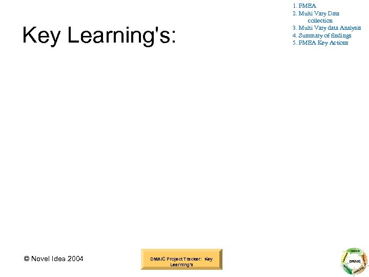 Key Learning's: © Novel Idea 2004 DMAIC Project Tracker: Key Learning's 1. FMEA 2.
