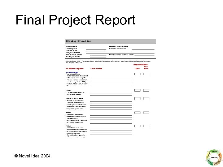 Final Project Report © Novel Idea 2004