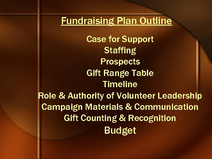 Fundraising Plan Outline Case for Support Staffing Prospects Gift Range Table Timeline Role &