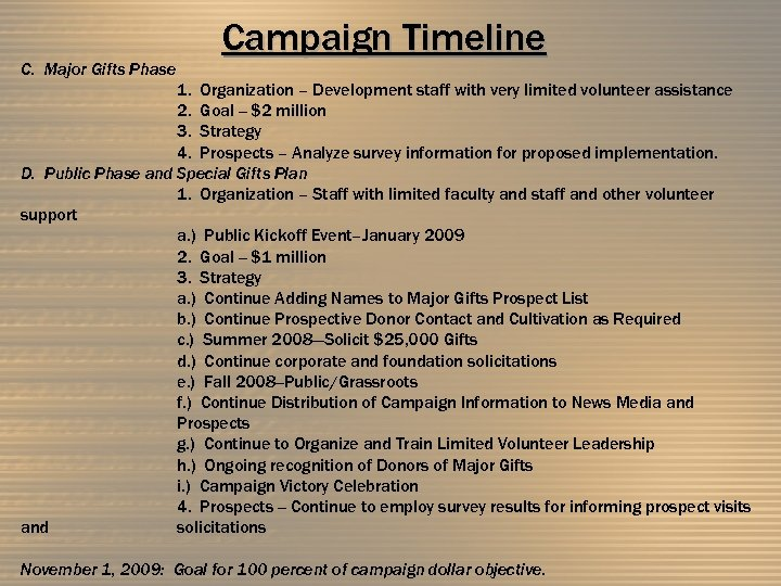 C. Major Gifts Phase Campaign Timeline 1. Organization – Development staff with very limited