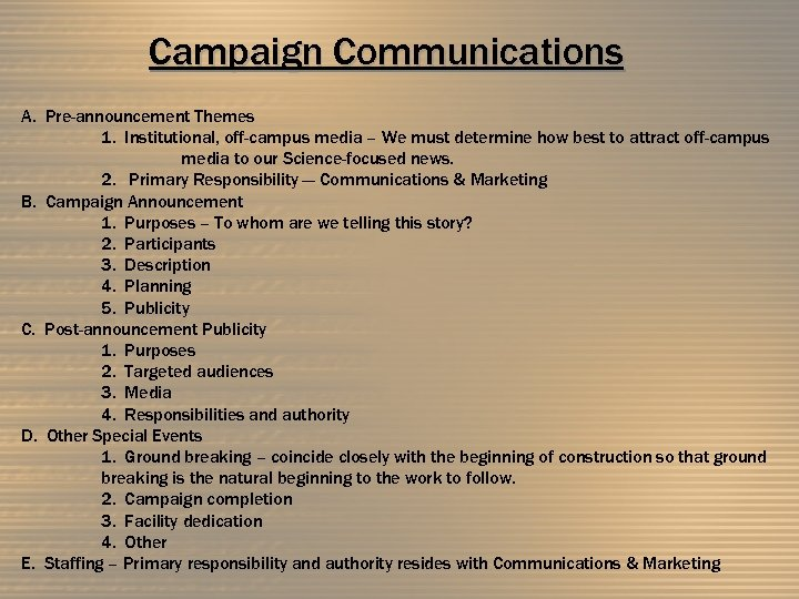 Campaign Communications A. Pre-announcement Themes 1. Institutional, off-campus media – We must determine how