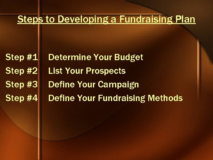 Steps to Developing a Fundraising Plan Step #1 Step #2 Step #3 Step #4