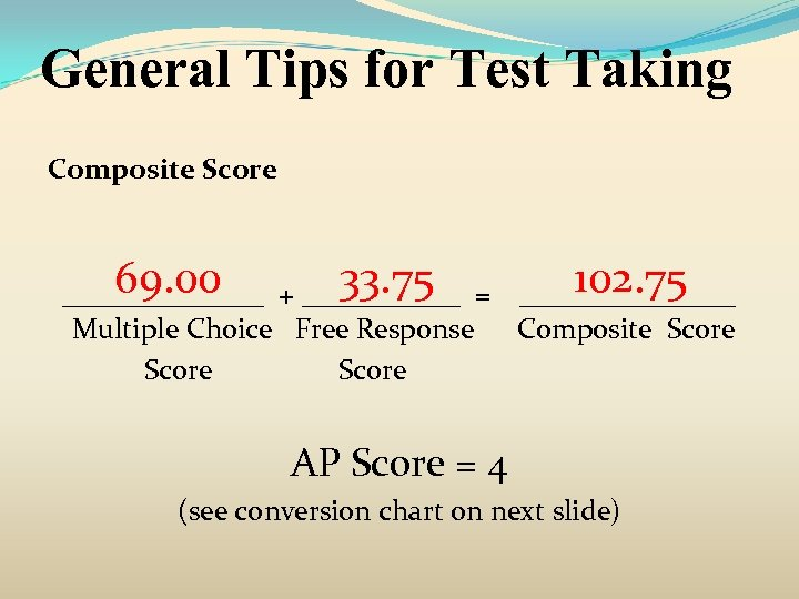 General Tips for Test Taking Composite Score 69. 00 33. 75 102. 75 _______