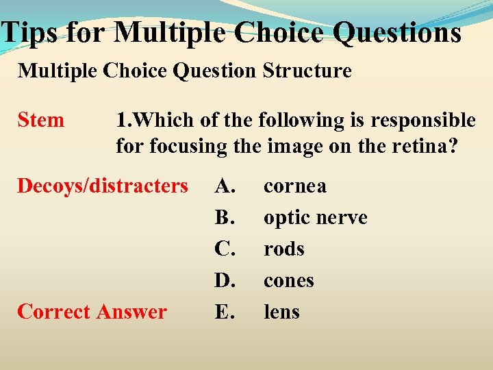 Tips for Multiple Choice Questions Multiple Choice Question Structure Stem 1. Which of the