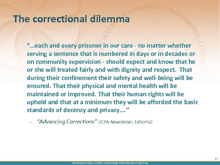 "The correctional dilemma ""…each and every prisoner in our care - no matter whether"