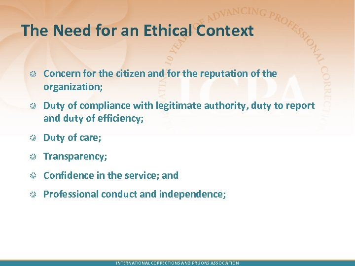 The Need for an Ethical Context Concern for the citizen and for the reputation