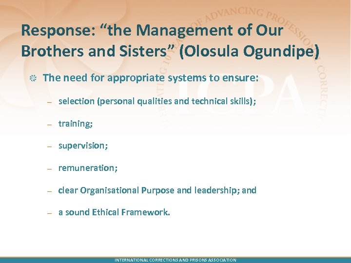 "Response: ""the Management of Our Brothers and Sisters"" (Olosula Ogundipe) The need for appropriate"