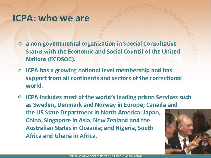 ICPA: who we are a non-governmental organization in Special Consultative Status with the Economic