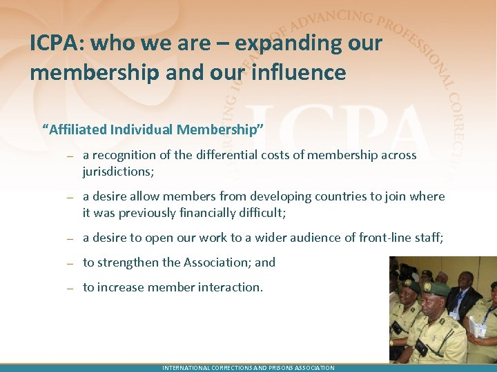 "ICPA: who we are – expanding our membership and our influence ""Affiliated Individual Membership"""