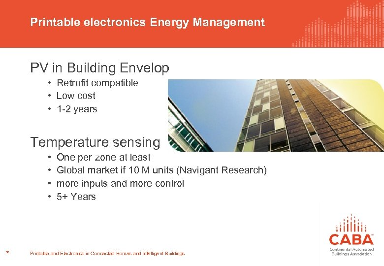 Printable electronics Energy Management PV in Building Envelop • Retrofit compatible • Low cost