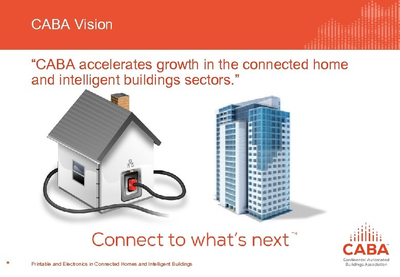 "CABA Vision ""CABA accelerates growth in the connected home and intelligent buildings sectors. """