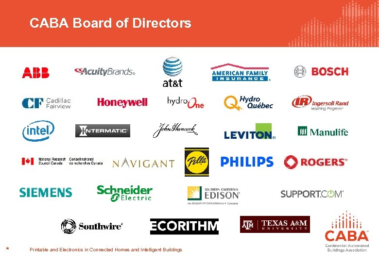 CABA Board of Directors * Printable and Electronics in Connected Homes and Intelligent Buildings