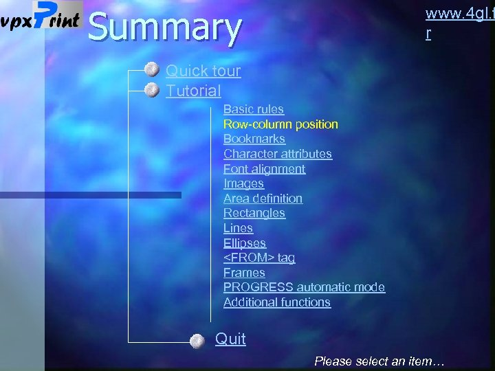 Summary www. 4 gl. f r Quick tour Tutorial Basic rules Row-column position Bookmarks