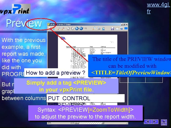 www. 4 gl. fr Preview With the previous example, a first report was made,