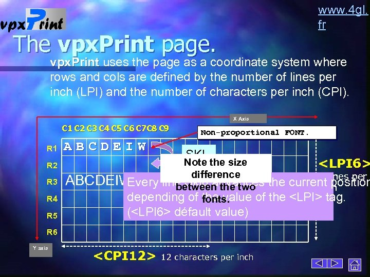 www. 4 gl. fr The vpx. Print page. vpx. Print uses the page as