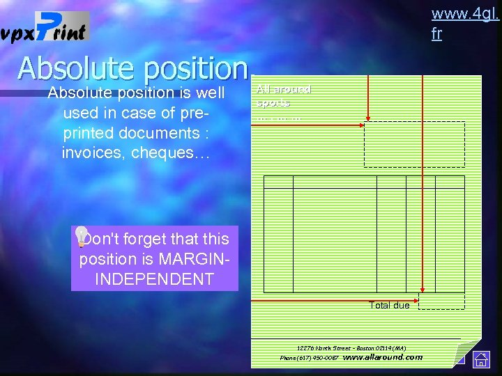 www. 4 gl. fr Absolute position is well used in case of preprinted documents