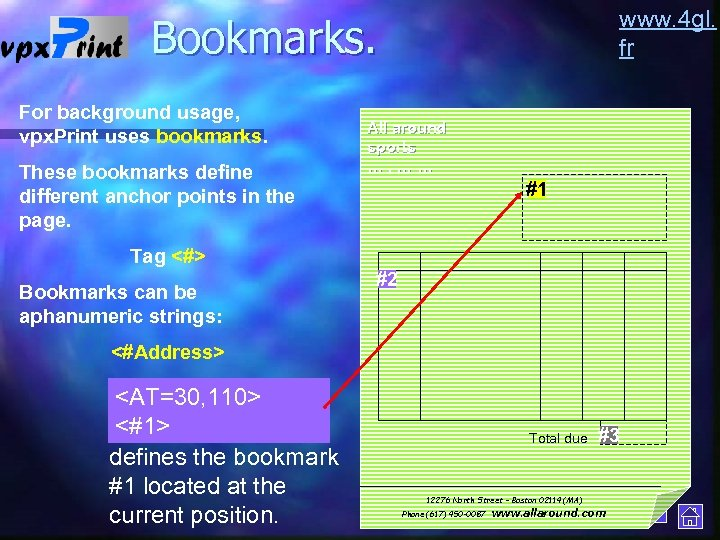 www. 4 gl. fr Bookmarks. For background usage, vpx. Print uses bookmarks. These bookmarks