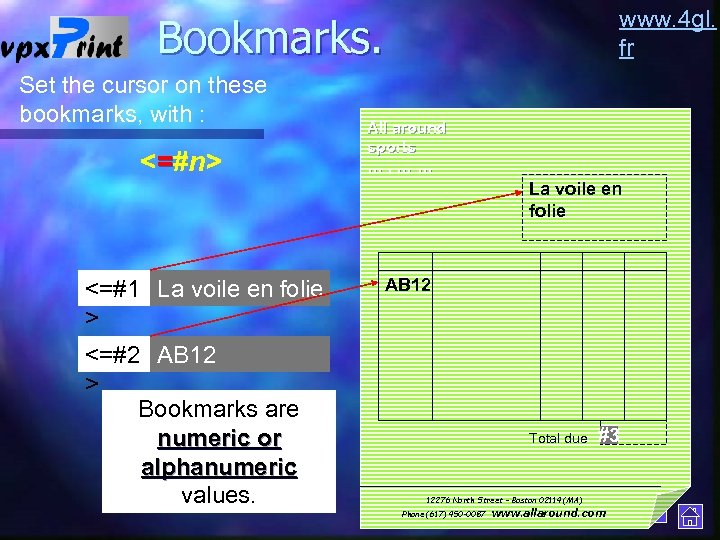 www. 4 gl. fr Bookmarks. Set the cursor on these bookmarks, with : <=#n>
